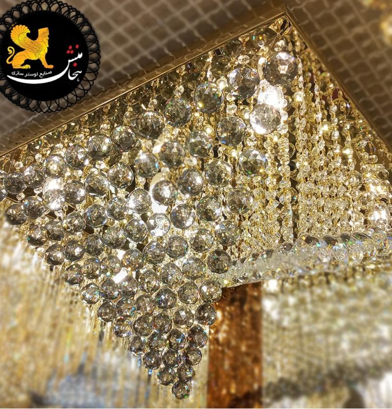 لوستر سقفی سایز 60 مربع طلایی تمام توپی